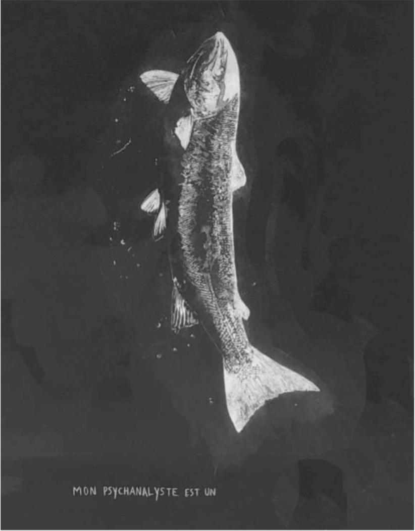 @Evan Bourgeau, Mon psychanalyste est un poisson, Transfert sur papier. 90x50, 2019